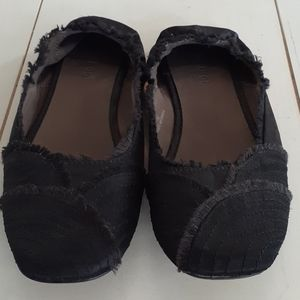 Black Bamboo raw edged satin ballet flats